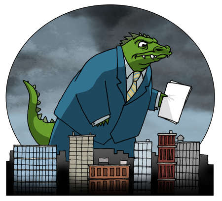 Dinosaur in business suit hovering over buildings