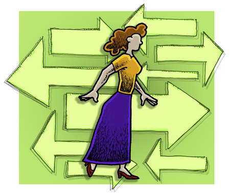 Woman waling in front of arrows going in different directions.