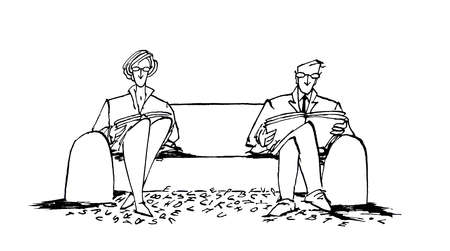 Man and woman reading on opposites ends of the couch, with letters on the ground between them