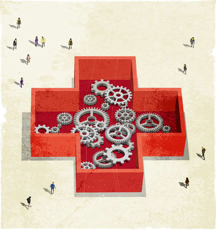 People walking around a Red Cross symbol containing cogs and wheels.