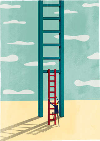 Man using a small ladder to climb a bigger ladder