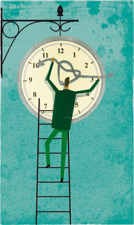 Man on a ladder untangling the hands of a clock