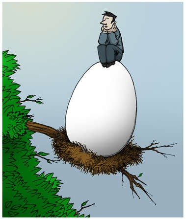 Man in a tree sitting on a giant egg