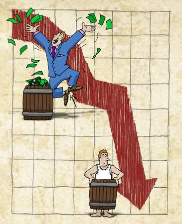 Rich man descending into poverty on a downward arrow