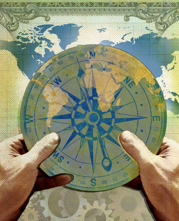 Pair of hands holding a compass with gears and a map of the continents.