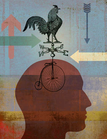 Profile in silhouette looking ahead with arrows, a bicycle and weather vane with rooster