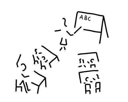 Children's classroom, teacher going over the alphabet.