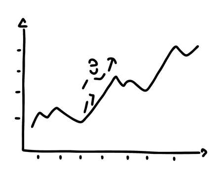 Person climbing up a line graph showing growth.