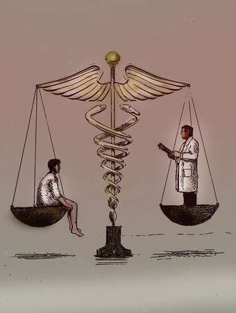 Doctor and patient in a balanced scale