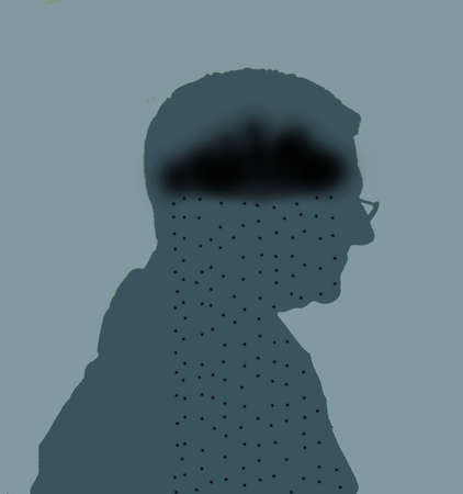 Silhouette of man in profile with a dark cloud for a brain.