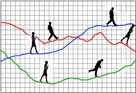 Business people walking on various lines on a bar graph