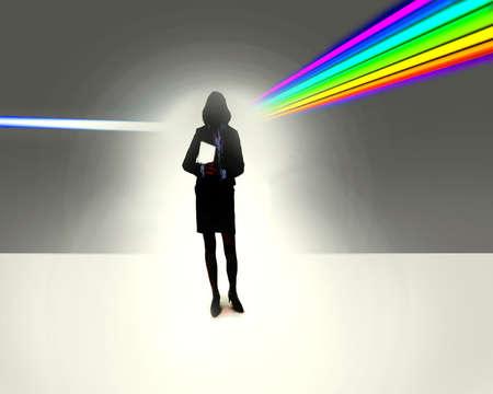 Woman walking through a prism.