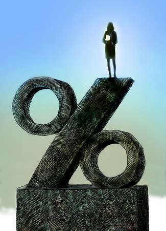 Woman standing on top of a percentage sign