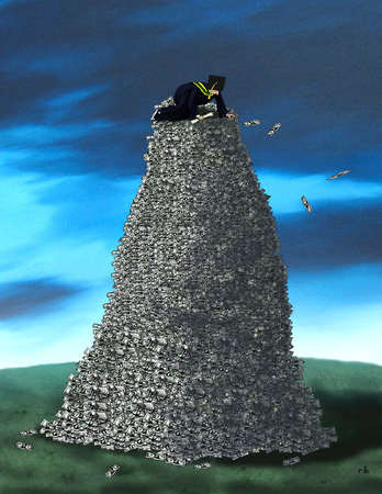 Graduate sitting atop a pile of money.