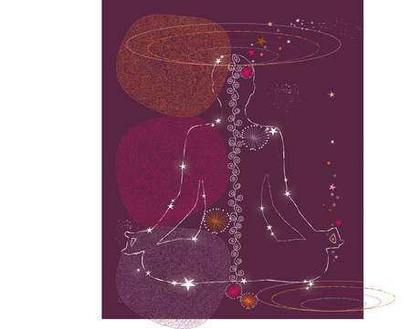 Person in yoga pose amid symbols of the universe