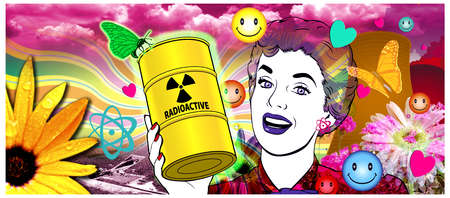 Smiling Woman Holding Radiation Barrel