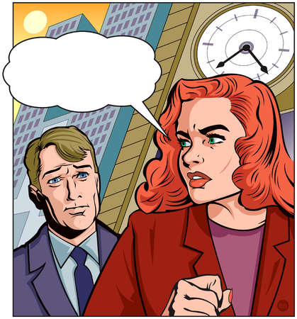 Woman with Speech Bubble in front of Clock and Man
