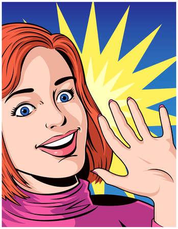 Smiling Woman Waving Hand
