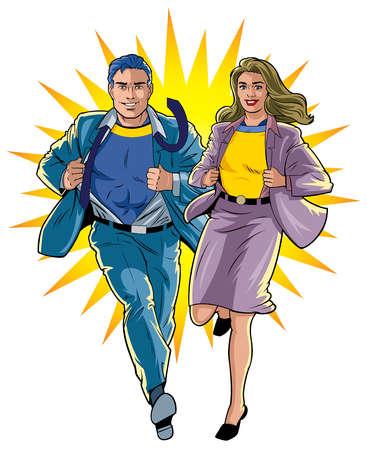 Businessman and Businesswoman Superhero