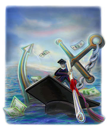 Graduate on the water, sailing on a mortarboard and holding an anchor and diploma