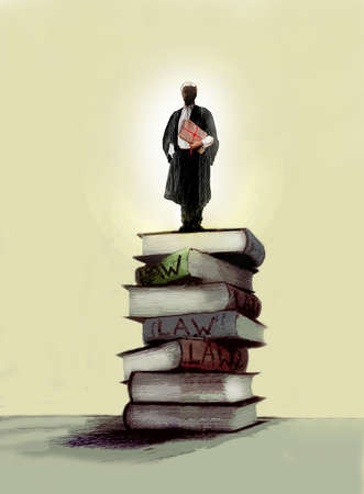 Lawyer standing atop a pile of books