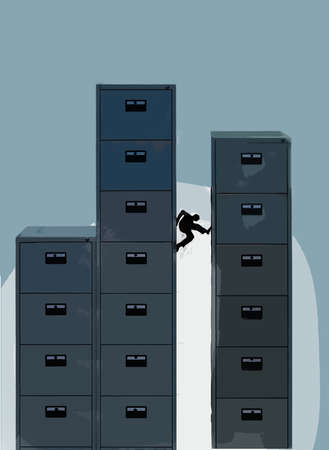 Businessperson scaling file cabinets