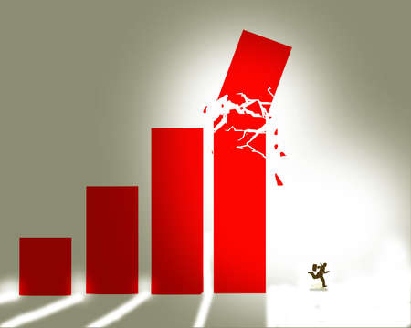 Man running away from a falling bar graph