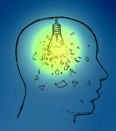 man in profile with shattered lightbulb in his head