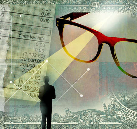 Montage of businessman, giant glasses, ray of light and financial statement