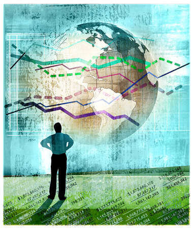Businessman standing on columns of numbers and looking at the earth covered with performance graphs, and dotted lines