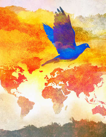 Dove flying across map of the world