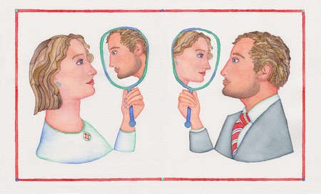 Transgender individuals looking at their reflections in a mirror