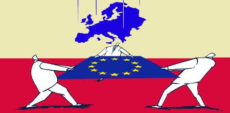Three Businessmen Holding European Union Flag Catching European Countries