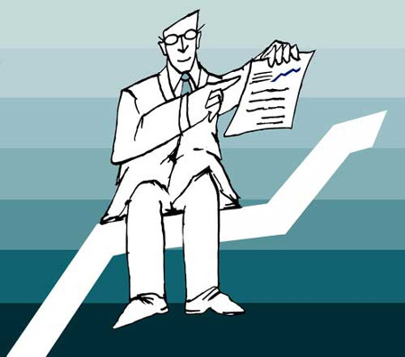 Businessman Sitting on Graph Holding Repot