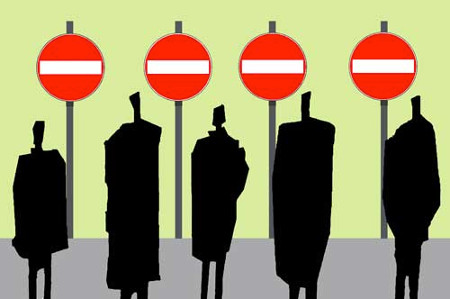 Silhouette Figures Standing In Front of No Entry Sign