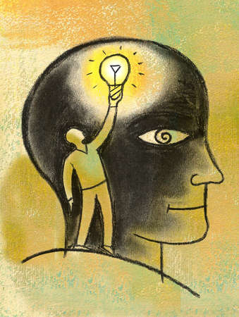 Man Inside Head With Lightbulb