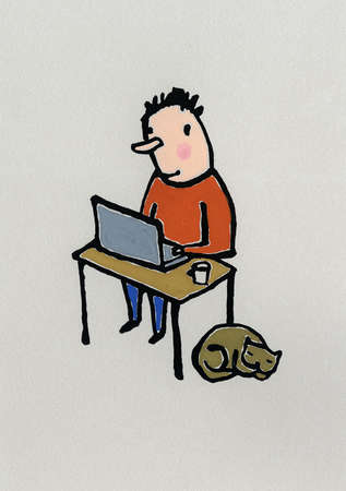 Man With Laptop at Desk With Cat