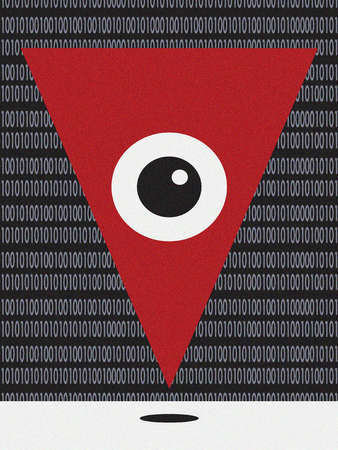 Triangular Eye With Binary Code Background