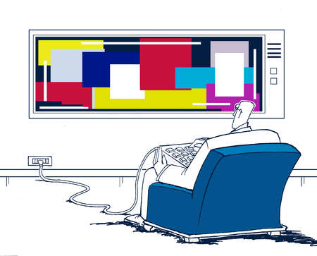 Man Seated Livingroom With Flat Screen Monitor