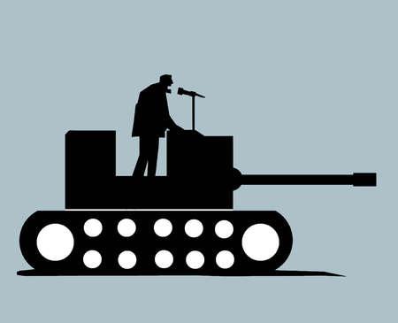 Man Giving Speech on Podium Tank