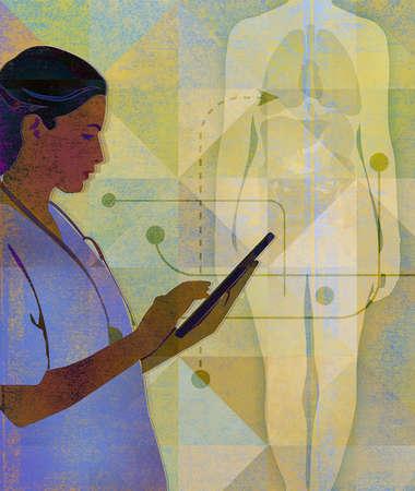 Female Nurse in Front of Female Figure