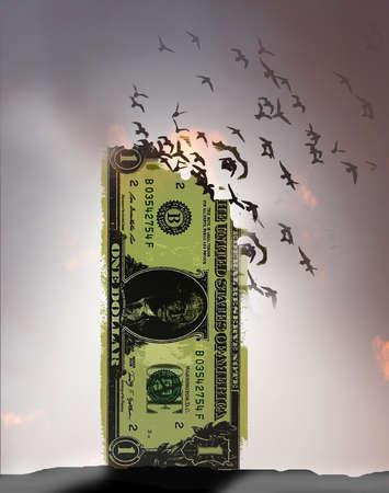 Dollar Flying Away
