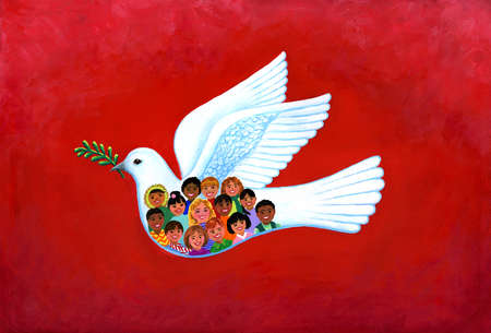 Children In Flying Dove of Peace