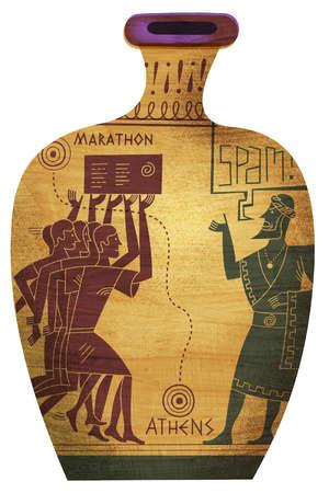 Greek Marathon Runners Vase