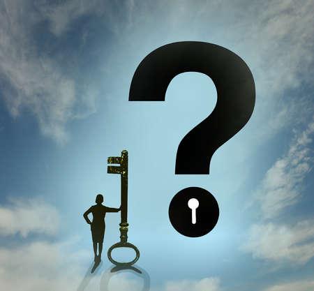 Woman Key Question Mark
