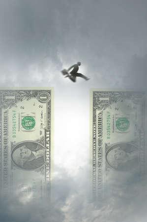 Man Jumping Dollars