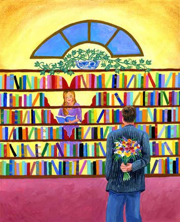 Couple at Bookshelf