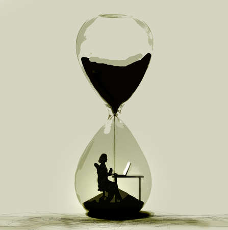 Worker In Hourglass
