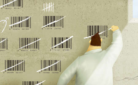 Man Counting on Prison Wall