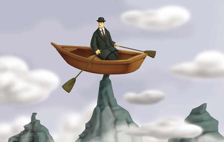 Man In Boat On Top of Mountain